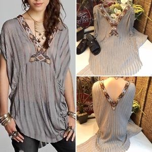 "Free People ""Paradise"" sheer stripe tunic top- M"